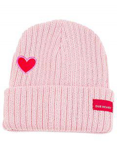 Letter Label Embroidery Flanging Knitted Beanie - Pink