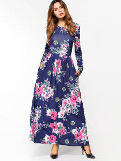 Floral Print Long Sleeve Maxi Dress - Deep Blue Xl