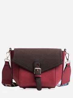 Buckle Strap Color Block Print Crossbody Bag - Red