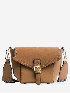 Buckle Strap Color Block Print Crossbody Bag - Brown