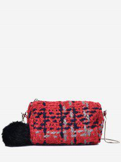Pompoms Color Block Crossbody Bag - Red