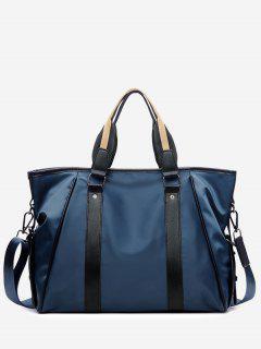 Rivet Contrasting Color Handbag With Strap - Blue