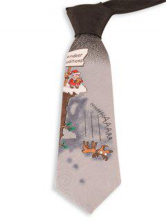 8.5CM Width Santa Claus Pattern Novelty Christmas Neck Tie - Gray