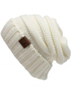CC Label Decorated Crochet Knitted Slouchy Beanie - White