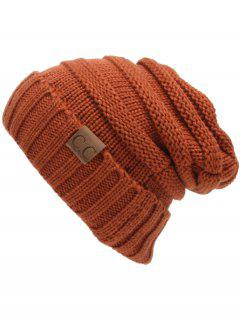 CC Label Decorated Crochet Knitted Slouchy Beanie - Spice