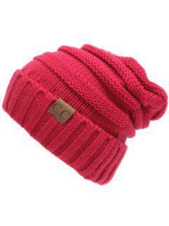 Bonnet Slouchy En Crochet Décoré CC Label - Rose Rouge