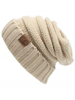 CC Label Decorated Crochet Knitted Slouchy Beanie - Beige