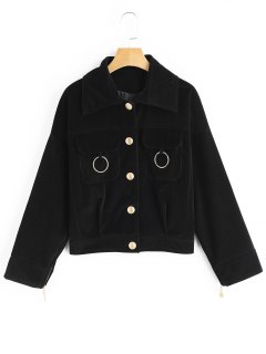 Button Up Corduroy Jacket - Black S