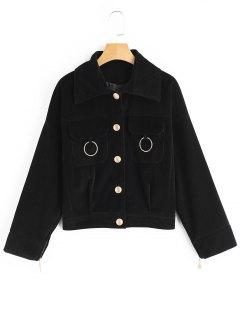 Button Up Corduroy Jacket - Black S