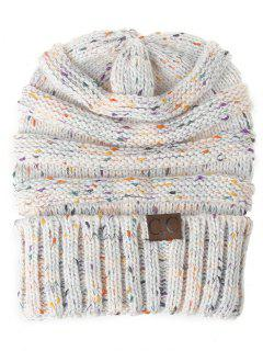 Label Pattern Decorated Striped Crochet Knitted Beanie - White