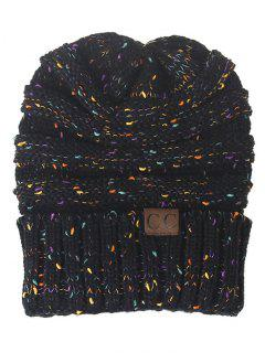 Label Pattern Decorated Striped Crochet Knitted Beanie - Black