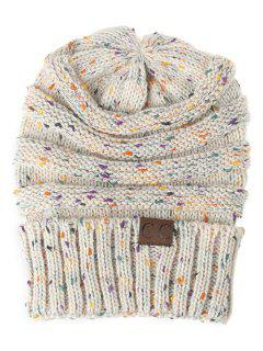 Label Pattern Decorated Striped Crochet Knitted Beanie - Beige