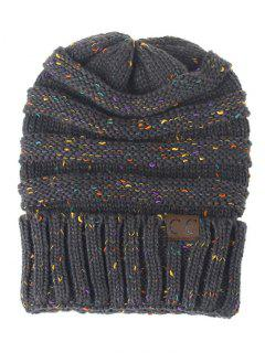 Label Pattern Decorated Striped Crochet Knitted Beanie - Dark Gray