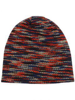 Colormix Pattern Crochet Knitted Lightweight Beanie - Red