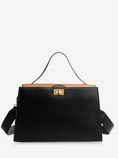 Contrasting Color PU Leather Handbag - Black