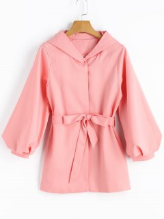 Hooded Puff Sleeve Belted Coat - Pink S