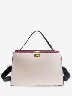 Contrasting Color PU Leather Handbag - White