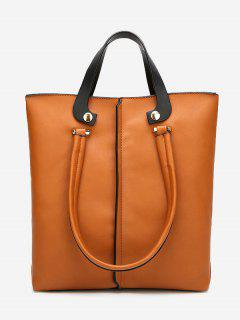 Faux Leather Stitching 2 Pieces Handbag Set - Brown Vertical