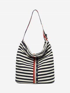 Stars Striped Color Block Shoulder Bag - Black White Vertical