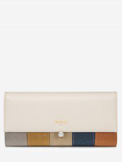 Color Block Faux Pearl Striped Wallet - Card Apricot