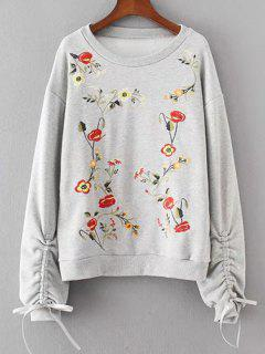 Cinched Sleeve Floral Embroidered Sweatshirt - Light Gray L