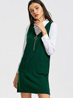 Longline Half Zip Vest V Neck Sweater - Green