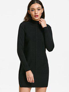 Mock Neck Cable Knit Panel Sweater - Black