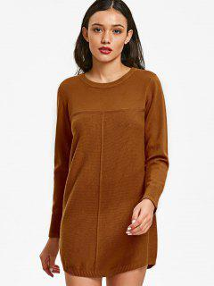 Crew Neck Textured Panel Sweater - Light Brown