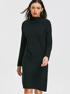 Long Sleeve Mock Neck Slit Sweater Dress - Black