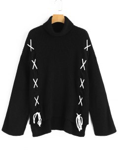 High Low Lace Up Turtleneck Sweater - Black