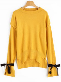 High Low Tied Sleeve Sweater - Ginger