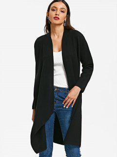 Asymmetrical Knit Open Front Cardigan - Black