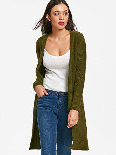 Ribbed Panel Zig Zag Open Front Cardigan - Army Green