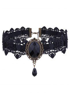 Gothic Faux Gemstone Oval Lace Choker Necklace - Black