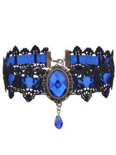 Gothic Faux Gemstone Oval Lace Choker Necklace - Blue