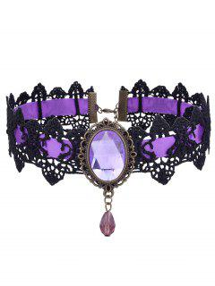 Gothic Faux Gemstone Oval Lace Choker Necklace - Purple