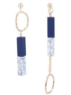 Asymmetric Wooden Geometric Chain Earrings - Royal