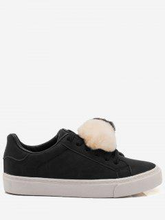 PU Leather Pompoms Casual Shoes - Black 40
