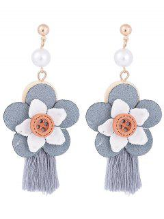 Faux Pearl Flower Tassel Pendientes Lindos - Gris