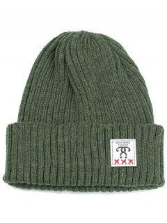 Label Decorated Crochet Knitted Beanie - Green