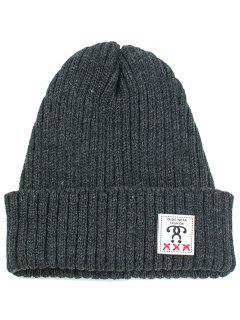 Label Decorated Crochet Knitted Beanie - Black