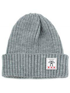 Label Decorated Crochet Knitted Beanie - Gray