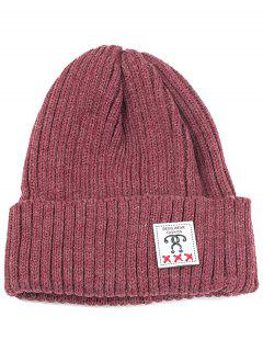 Label Decorated Crochet Knitted Beanie - Wine Red