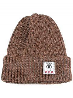 Label Decorated Crochet Knitted Beanie - Coffee