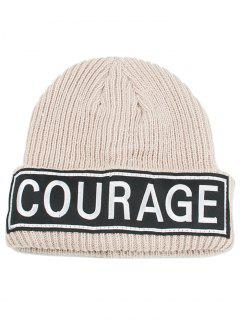 Outdoor Letter Pattern Decorated Crochet Knitted Beanie - Beige