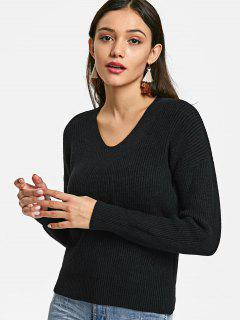 V Neck Distressed Pullover Sweater - Black