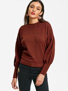 Pullover Crew Neck Ribbed Cuffs Sweater - Brick-red