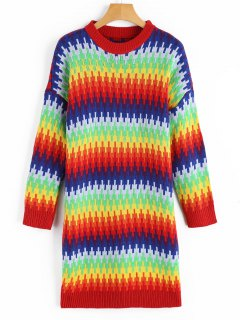 Pullover Colorful Rainbow Sweater Dress - S