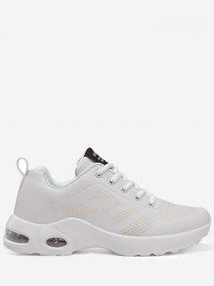 PU Leather Geometric Sneakers - White 40
