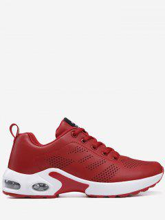 PU Leather Geometric Sneakers - Red 36